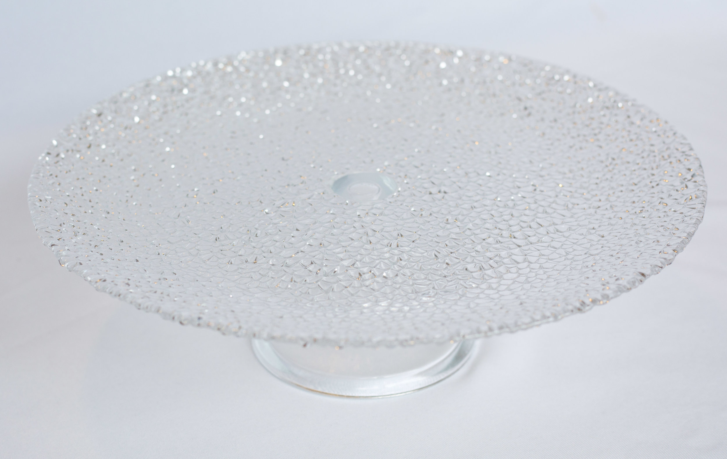 Glass textured cake stand (2 in stock).jpg