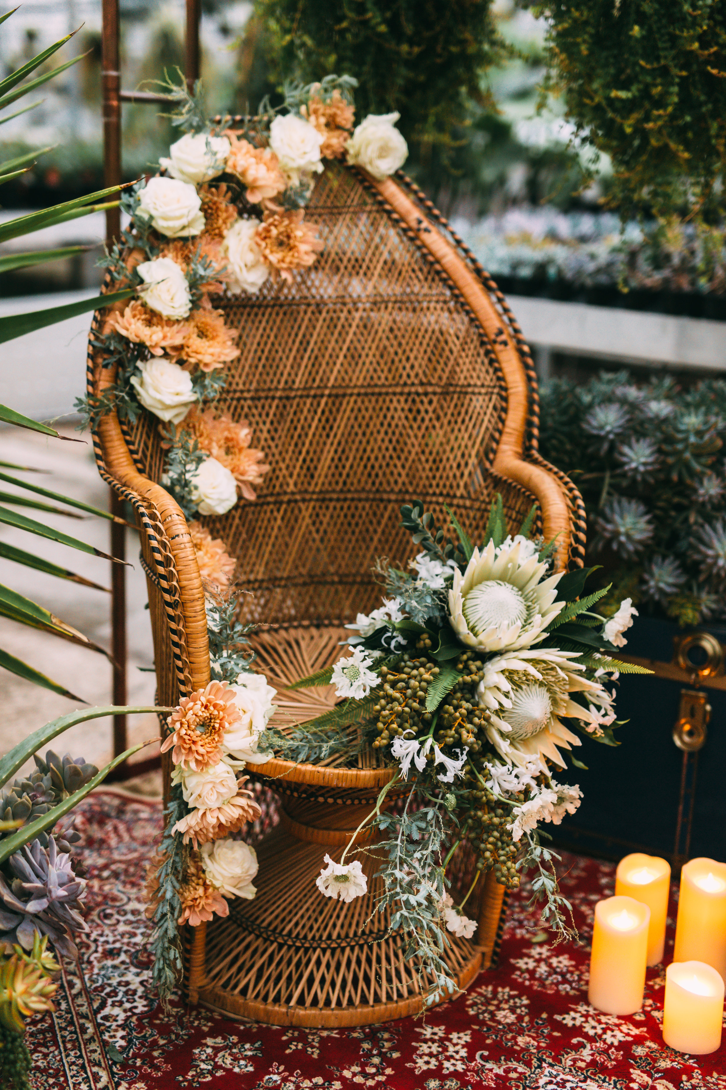 amanda cowley events niagara wedding planner free spirit styling bohemian style greenhouse peackcock chair eclectic style florals