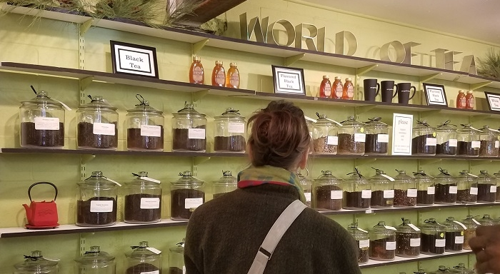 Pictured: My Aunt Linda in front of the great wall of tea at One Good Woman in Camp Hill, PA