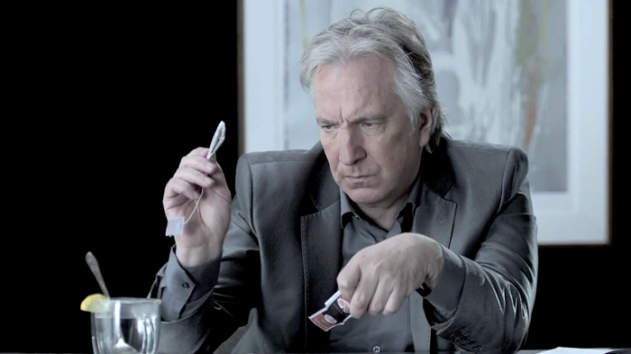still from youtube video: Epic Tea Time with Alan Rickman (aka the best tea performance of all time)