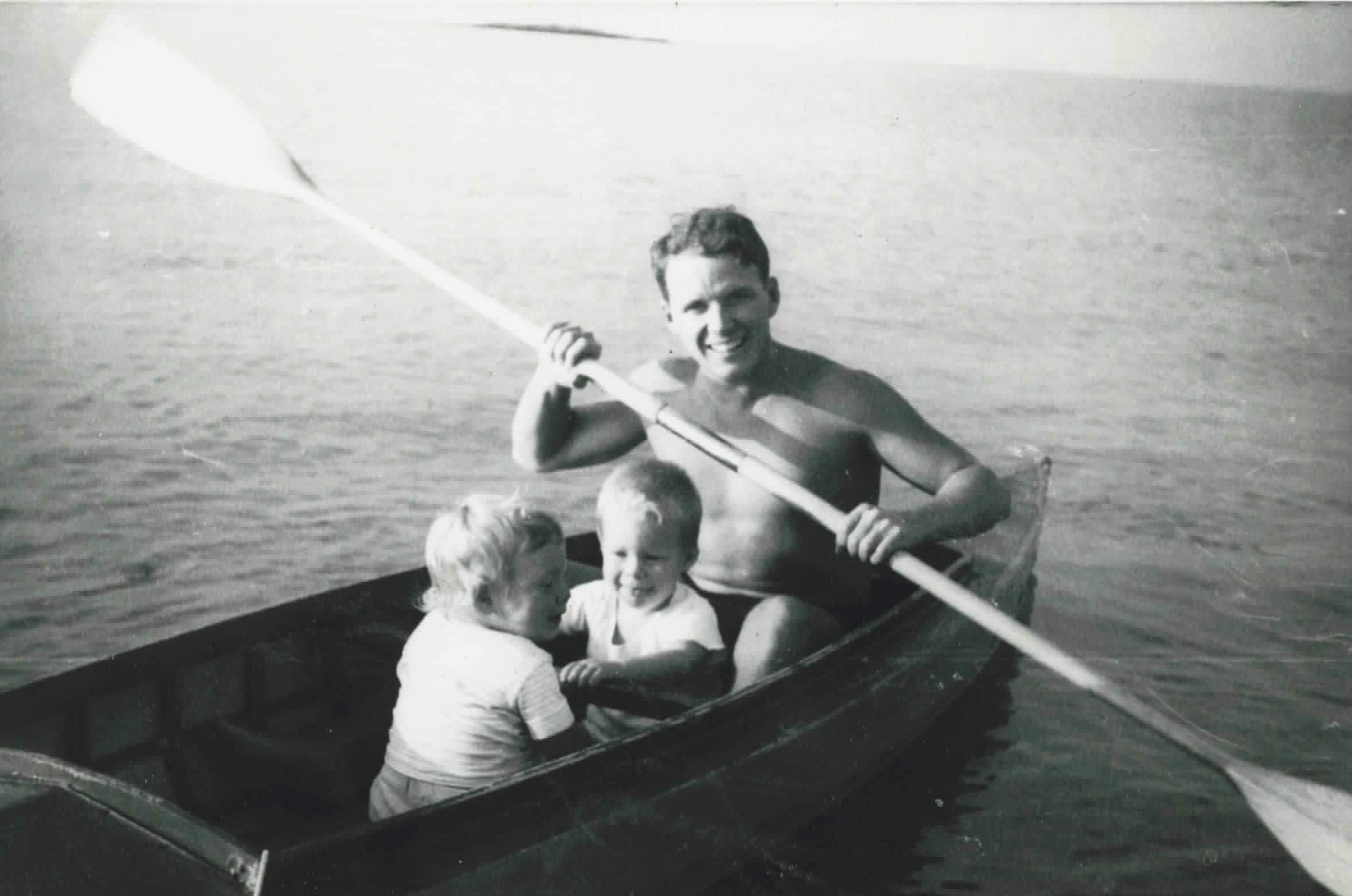 Arthur Martin paddling his first sea kayak with son Douglas and daughter Lorna.