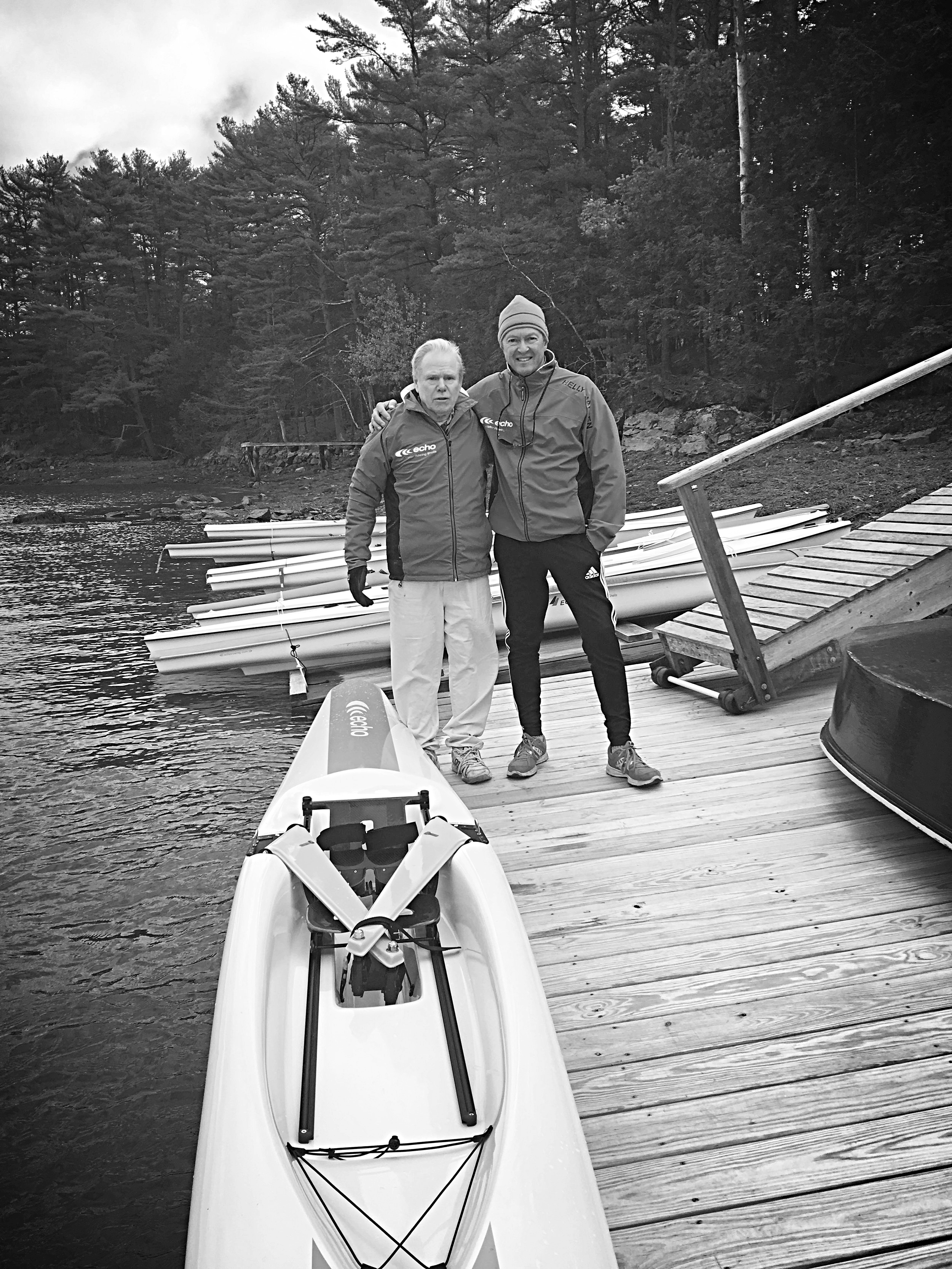 Steve Wood and Douglas Martin share a moment at the Chauncey Creek Boathouse in Kittery Point, Maine