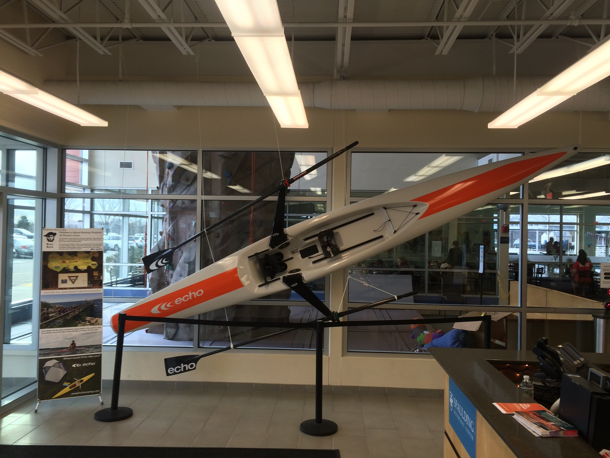 The instructor's Echo Sport on display in the Lynch / van Otterloo Marblehead YMCA lobby