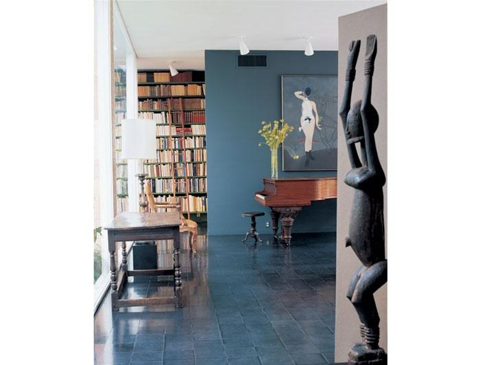 The interior of the de Menil's home in Houston, designed by architect, Phillip Johnson