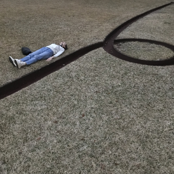 Sculpture by Michael Heizer outside the Menil Collection
