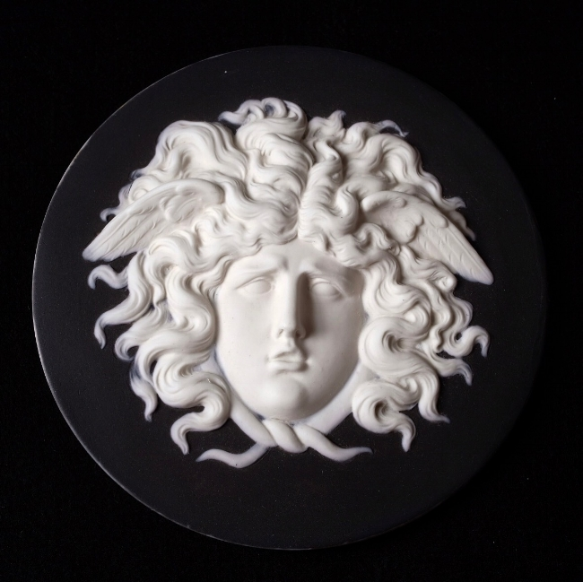 One of our favorite Wedgwood finds; an early 19th Century Wedgwood Jasperware Medallion of Medusa