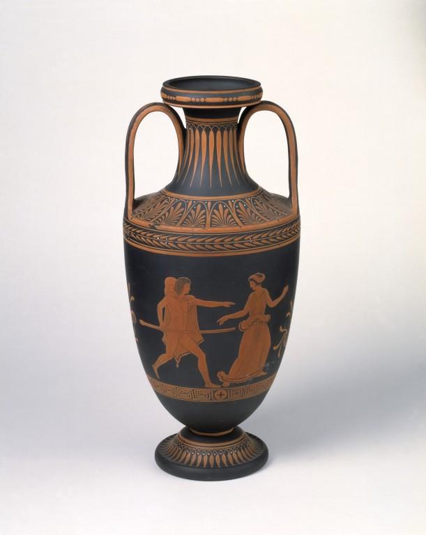 A Wedgwood basalt vase c. 1785 based on an Ancient Greek amphora