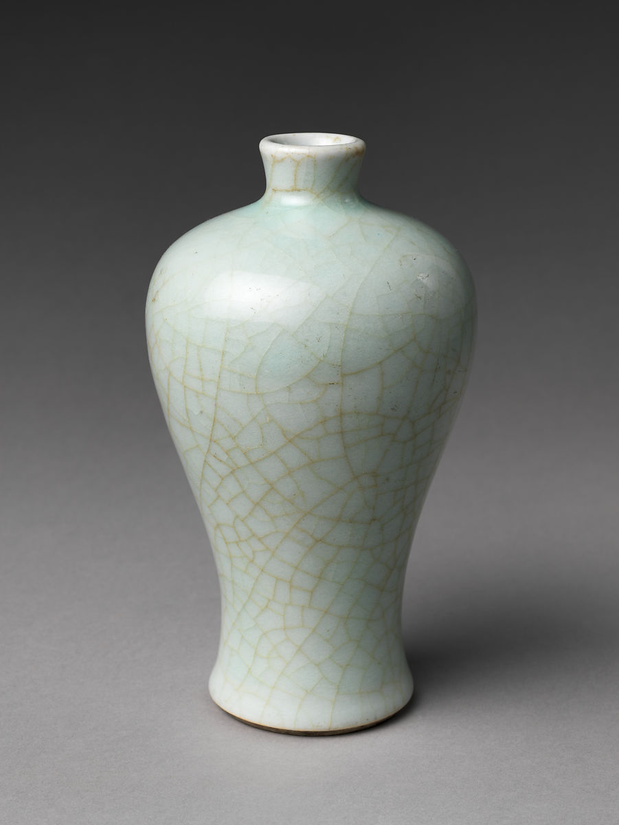 Qing Dynasty Meiping (plum blossom) celadon vase from the Jingdezhen kilns, 18th Century