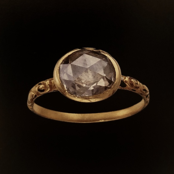 17th Century gold ring with a single rose cut diamond
