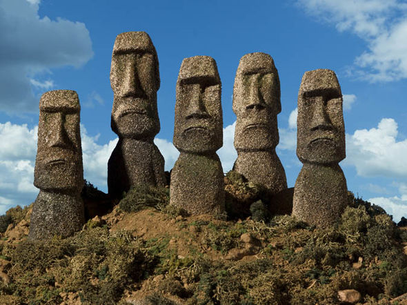 Carved Stone Moai on Easter Island