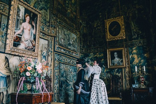 Elaborate verdure tapestries adorn the walls of Hatfield House, the grand Jacobean estate in Hertfordshire, England, used as the primary filming location for  The Favourite,  set during the reign of Queen Anne.