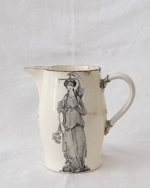 A magical 18th Century  creamware make-do jug  from our collection.
