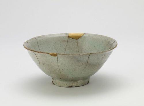 A 17th Century Korean Joseon period kintsugi bowl at the Smithsonian Museum.