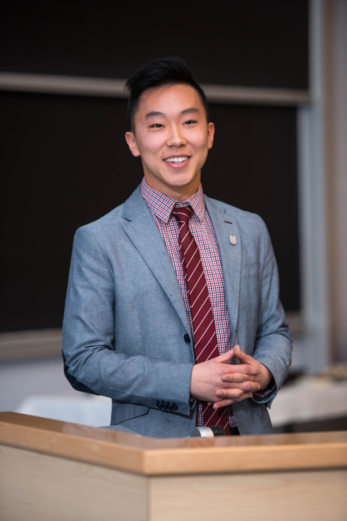Daniel He Speaking at the 2017 Engineering Iron Pin Ceremony  Courtesy: Adam Travis of UNB Media