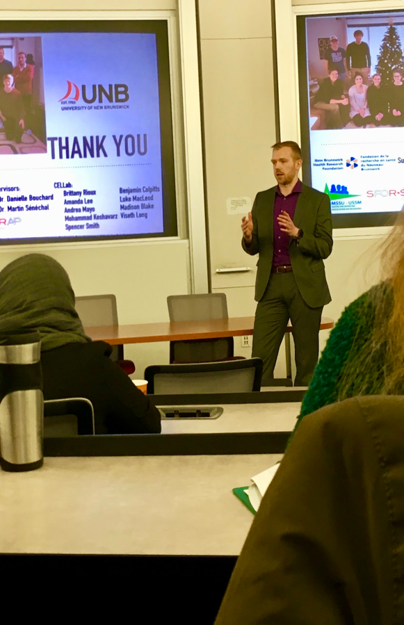 Hrubeniuk speaking at the Atlantic Provinces and Exercise Scientists and Sociocultarists Conference - Image Submitted