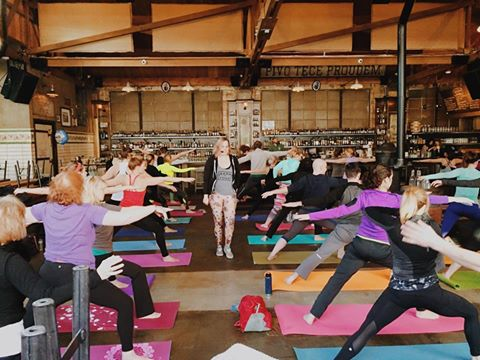 Teaching yoga for my friends at  Just Add Yoga.
