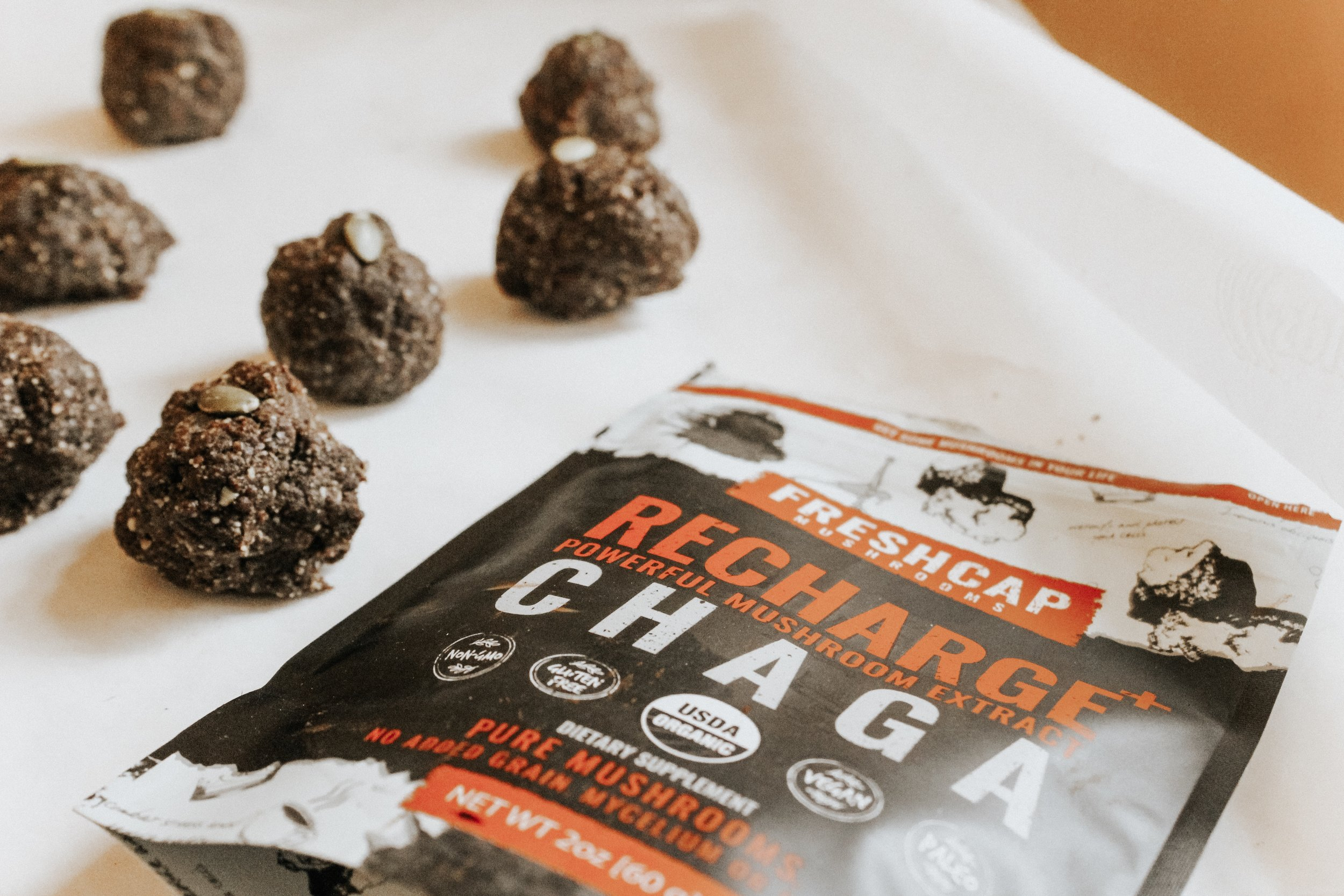 Bring these chaga bites on a hike, pack them in your lunch, or store them in your purse (guilty!) for a mid-day snack.
