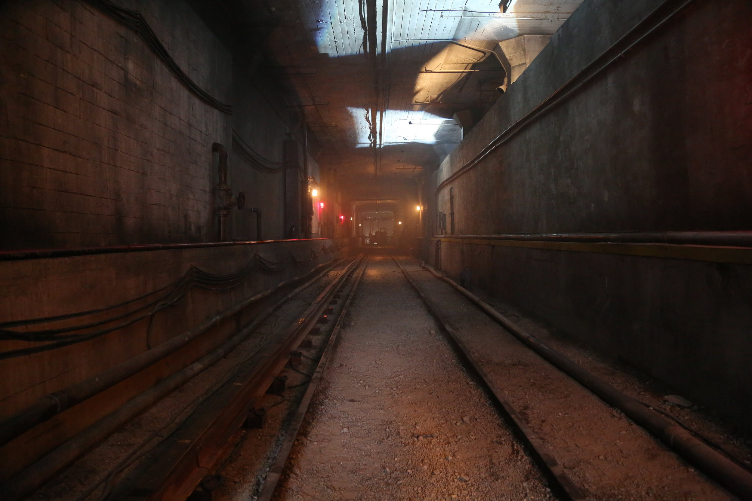 LA Subway Tunnel-  We used a warehouse location to create 300 feet of enclosed subway tunnel and towed in a subway car.