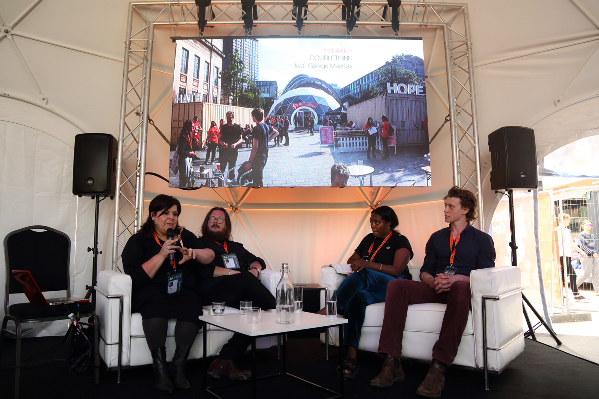 Iain Forsyth, Jane Pollard and George McKay talk to Eloise King about artist commission, DOUBLETHINK in Doc/Fest Exchange.
