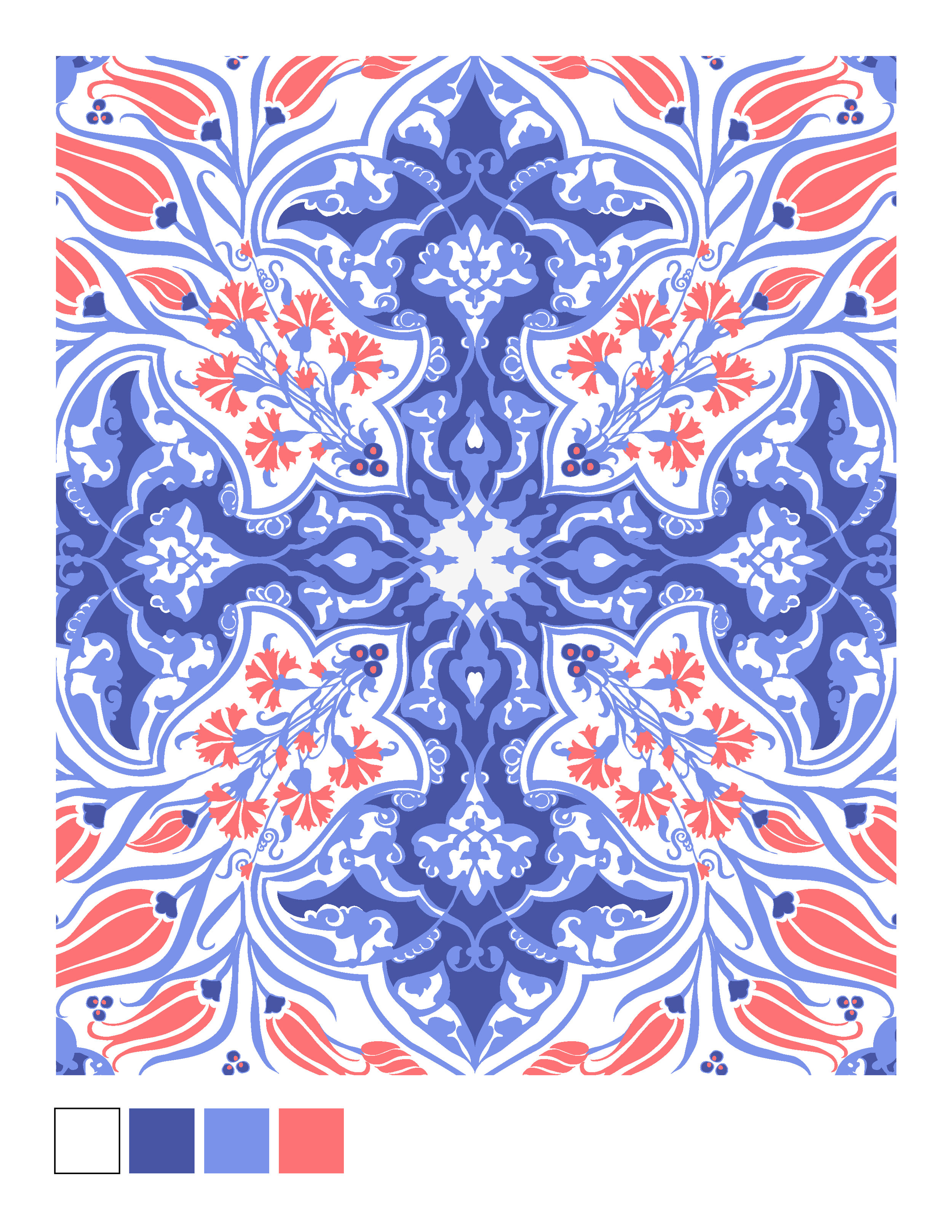 This print was inspired by turkish isNIK tiles. these iconic tiles were decorated with turquoise, cobalt blue, and red tulip patterns and vine leaves among other motifs.