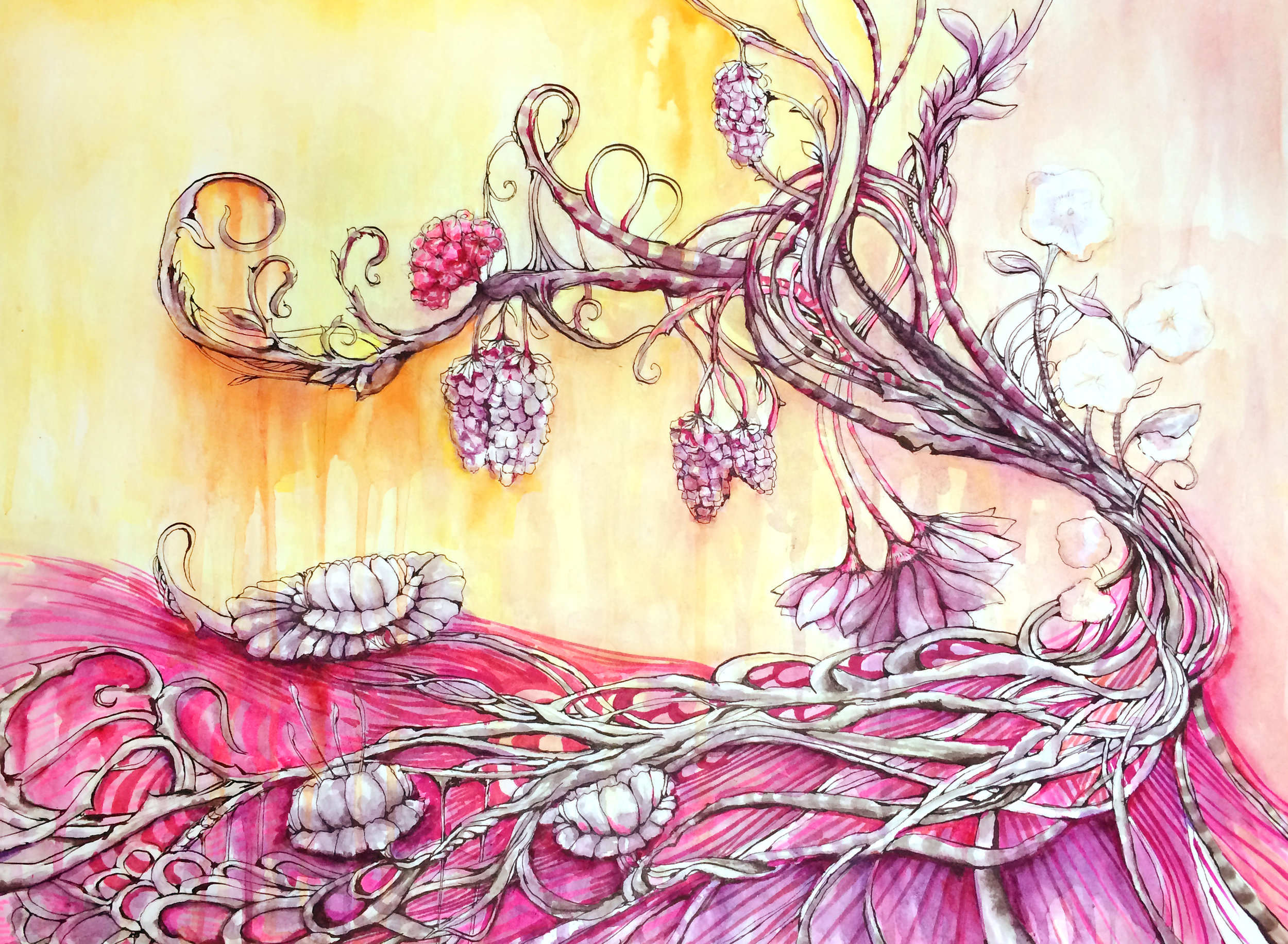"""LOTUS SANCTUARY 16""""X12"""" WATERCOLOR, MARKER, & INK ON PAPER"""