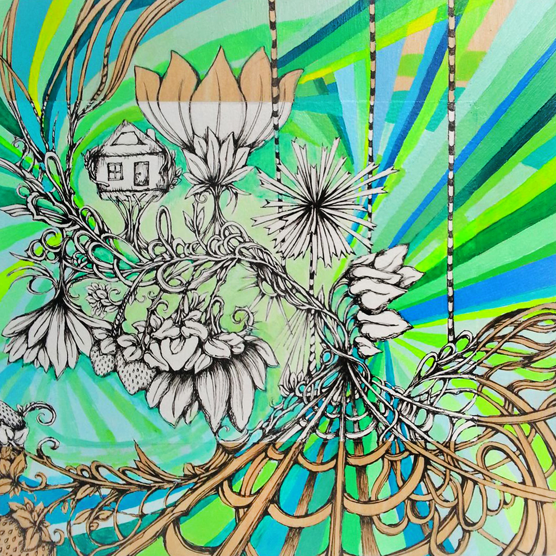 "STRAWBERRY GARDENS 8""x8"" acrylic, pen, & paper on wood"