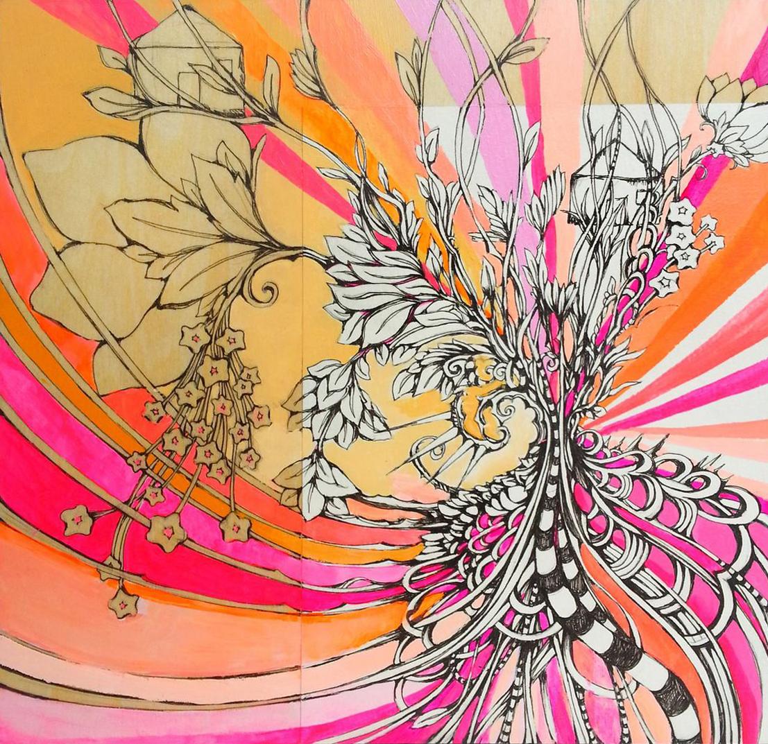 "SUNRISE BLOSSOM 8""x8"" acrylic, pen, & paper on wood"