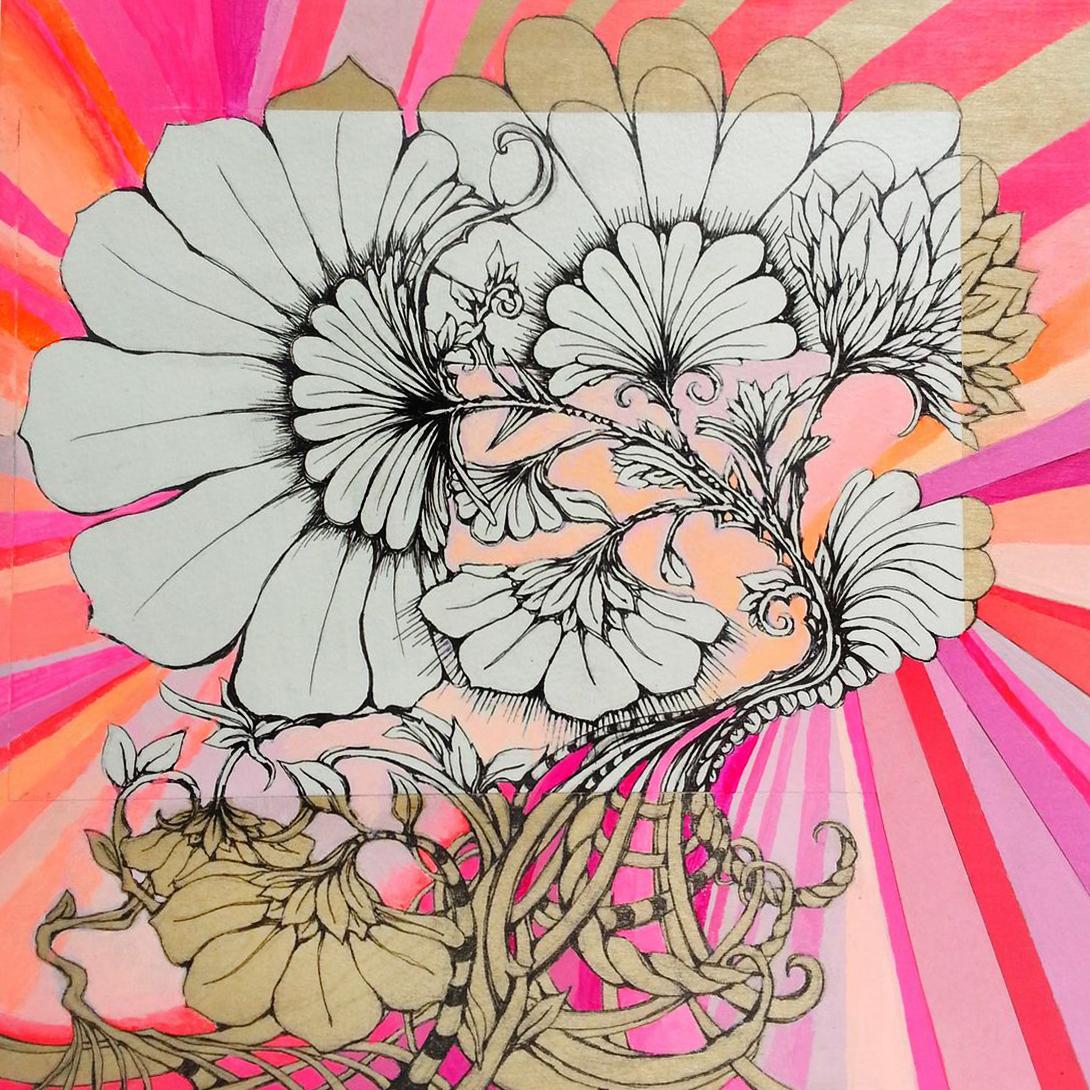 "WILD ROSES 8""x8"" acrylic, pen, & paper on wood"