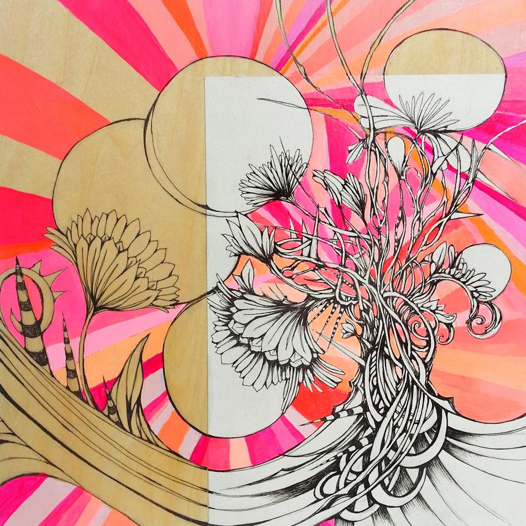 "SWEET DAHLIAS 8""x8"" acrylic, pen, & paper on wood"