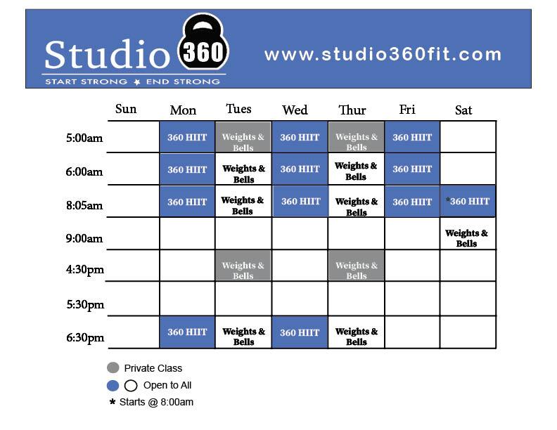 Studio 360 Class Schedule 7.18