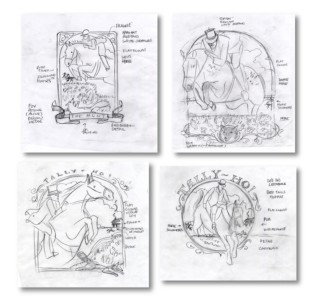 These are 4 concepts presented for a  Fox and Hounds   Magazine  story. Below is the client's final concept selection and finished art