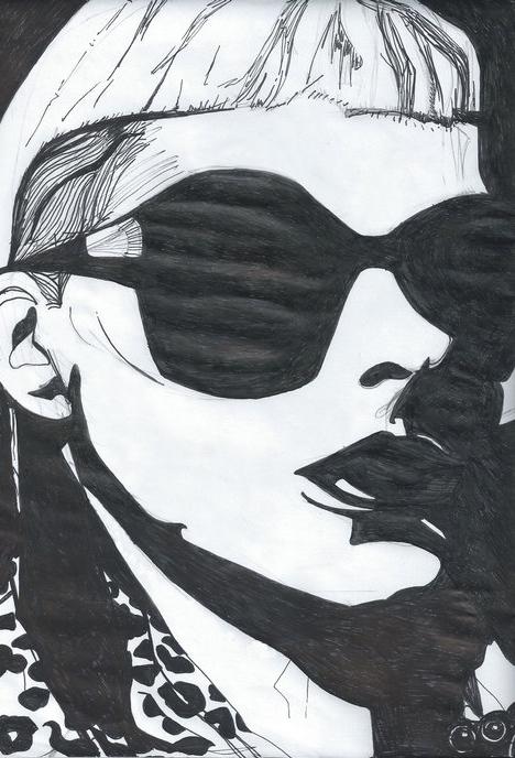 Yo Landi Visser Die Antwoord Black and white drawing portrait