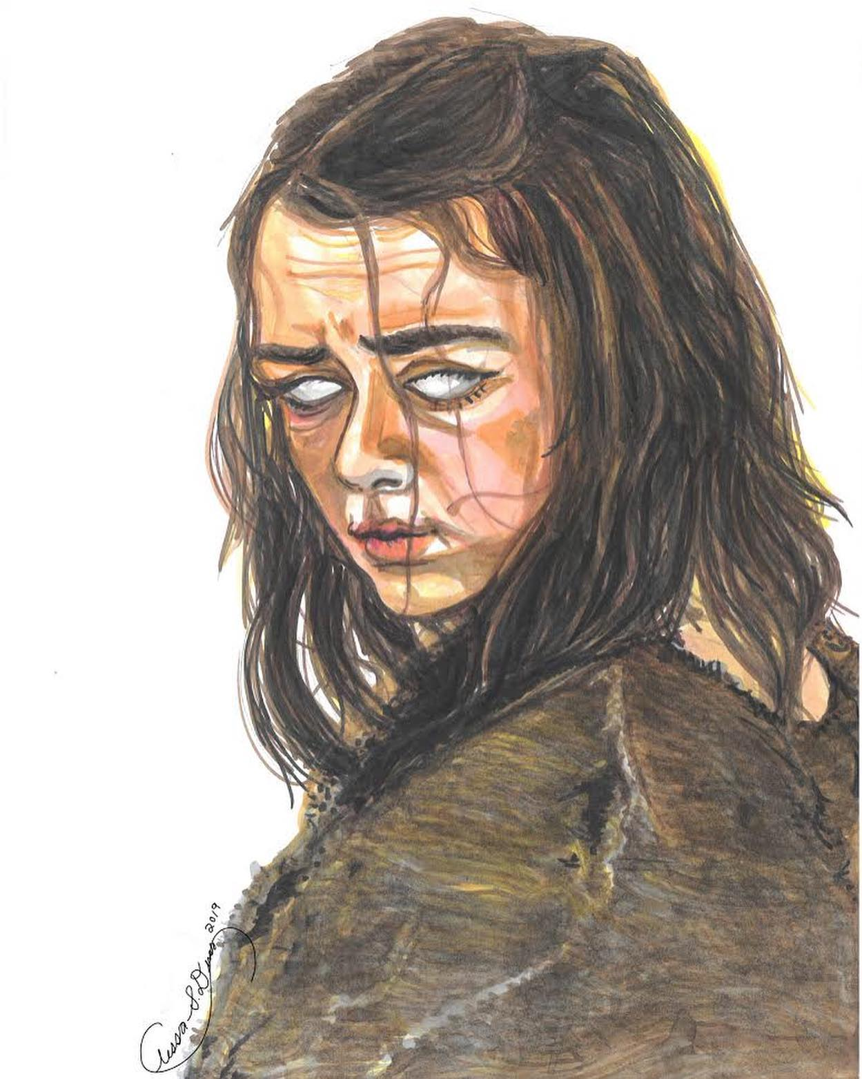 Maisie Williams as Arya Stark. PrismaColor markers on paper.