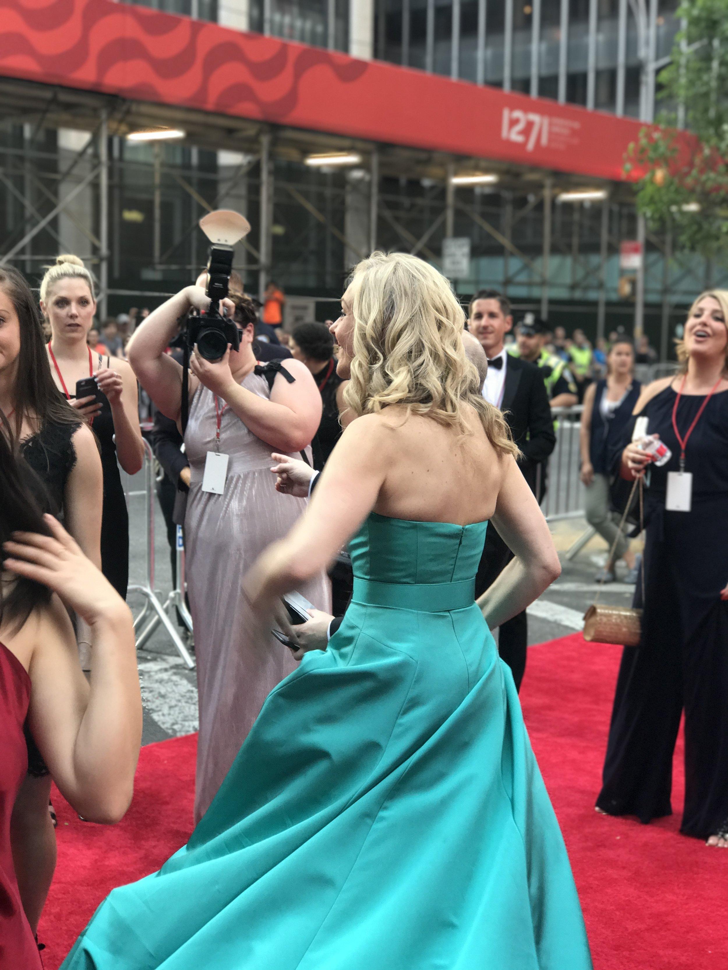 Dear Evan Hansen 's Rachel Bay Jones is radiant in a dress by Christian Siriano.