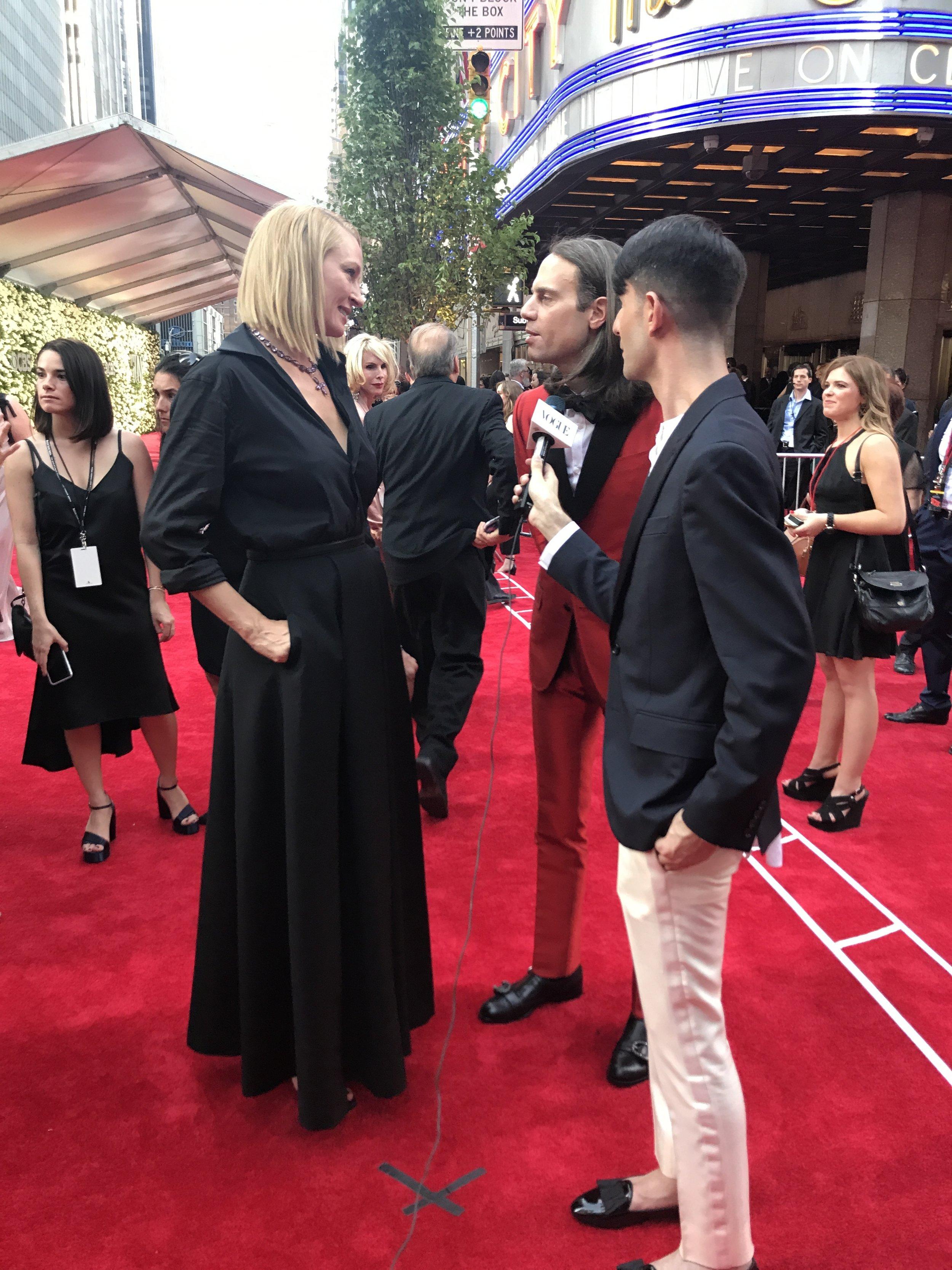Tony Awards Presenter Uma Thurman talks to Broadway producer and style icon Jordan Roth and Vogue.com's Style Editor Edward Barsamian.