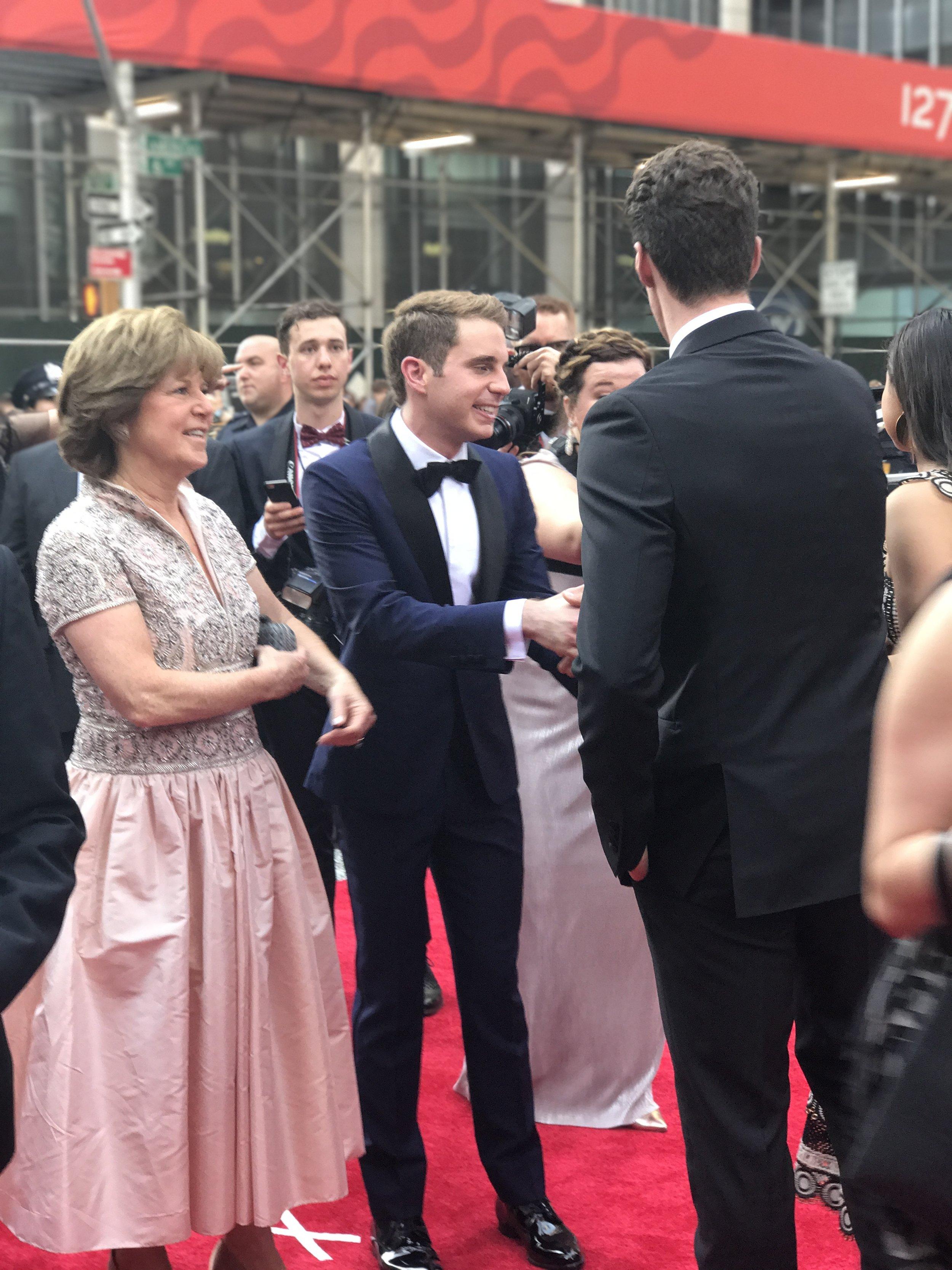 Dear Evan Hansen 's Ben Platt and his mom arrive on the red carpet.