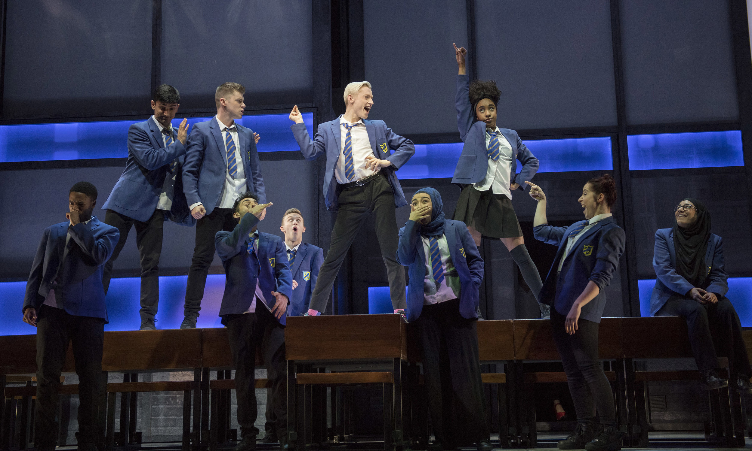 Cast of Everybody's Talking About Jamie at the Apollo Theatre. Photo by Alastair Muir.jpg
