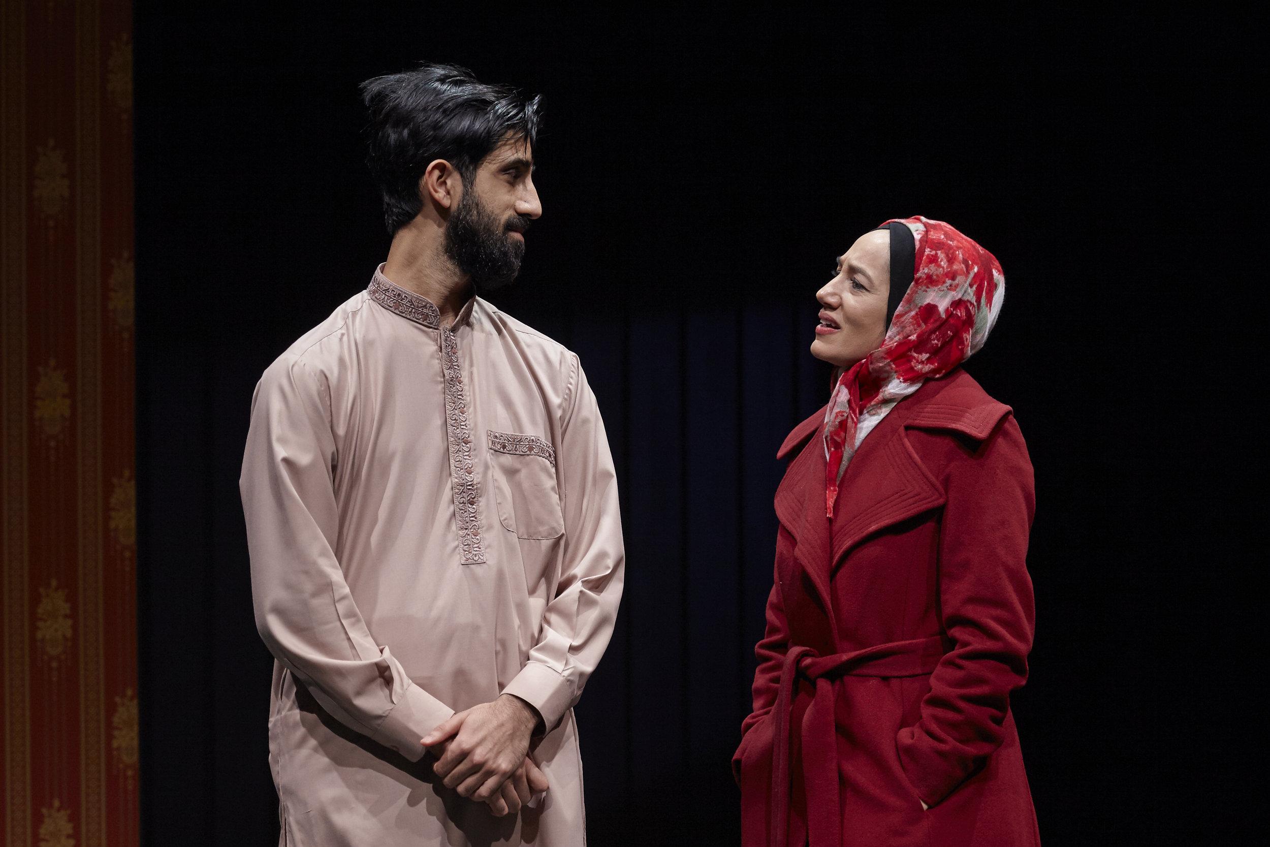 Sathya Sridharan and Purva Bedi in AN ORDINARY MUSLIM at New York Theatre Workshop - photo by Suzi Sadler.jpg