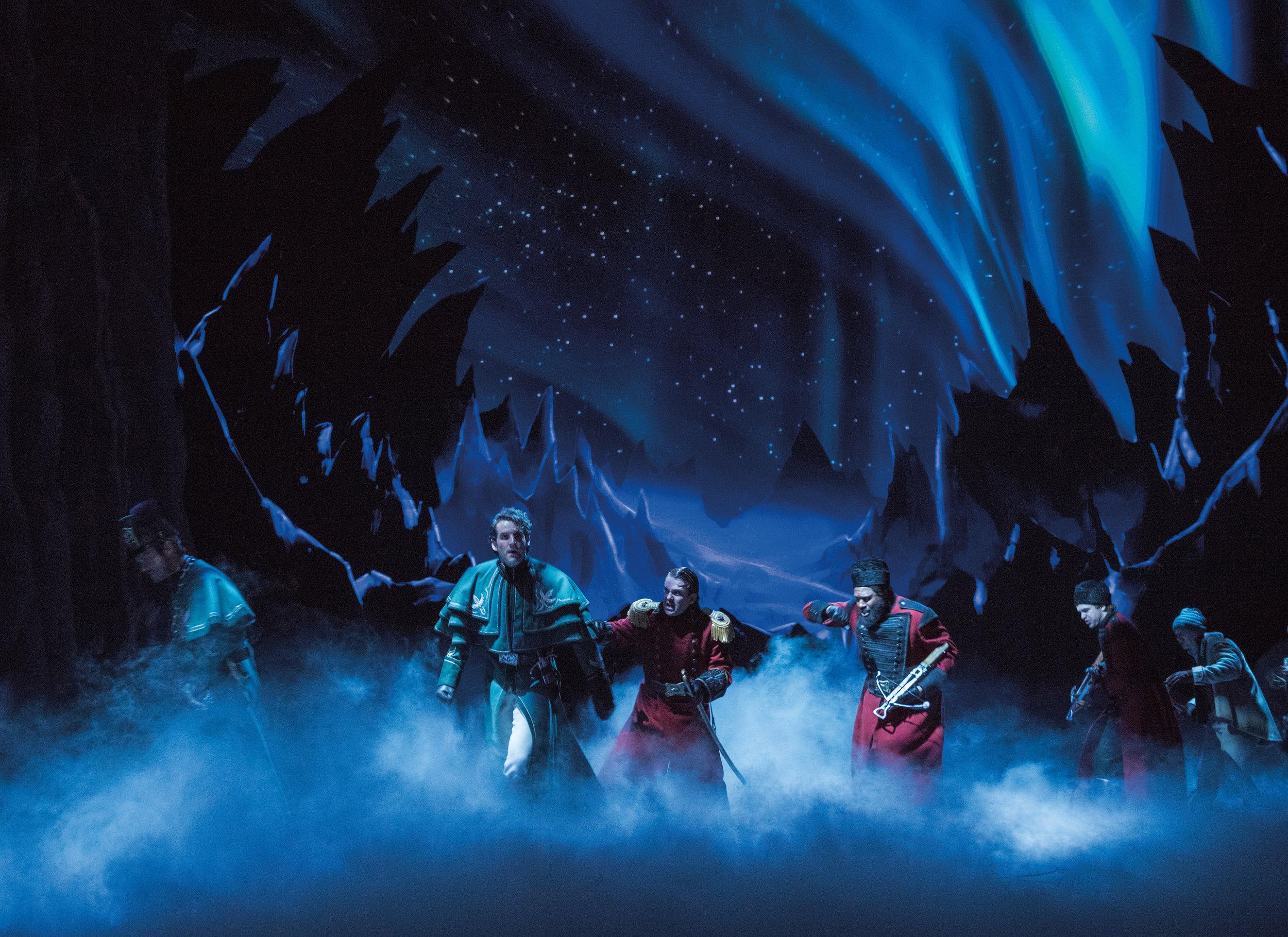 John Riddle (Hans), Robert Creighton (Weselton) and the Company of FROZEN on Broadway. Photo by Deen van Meer.jpg