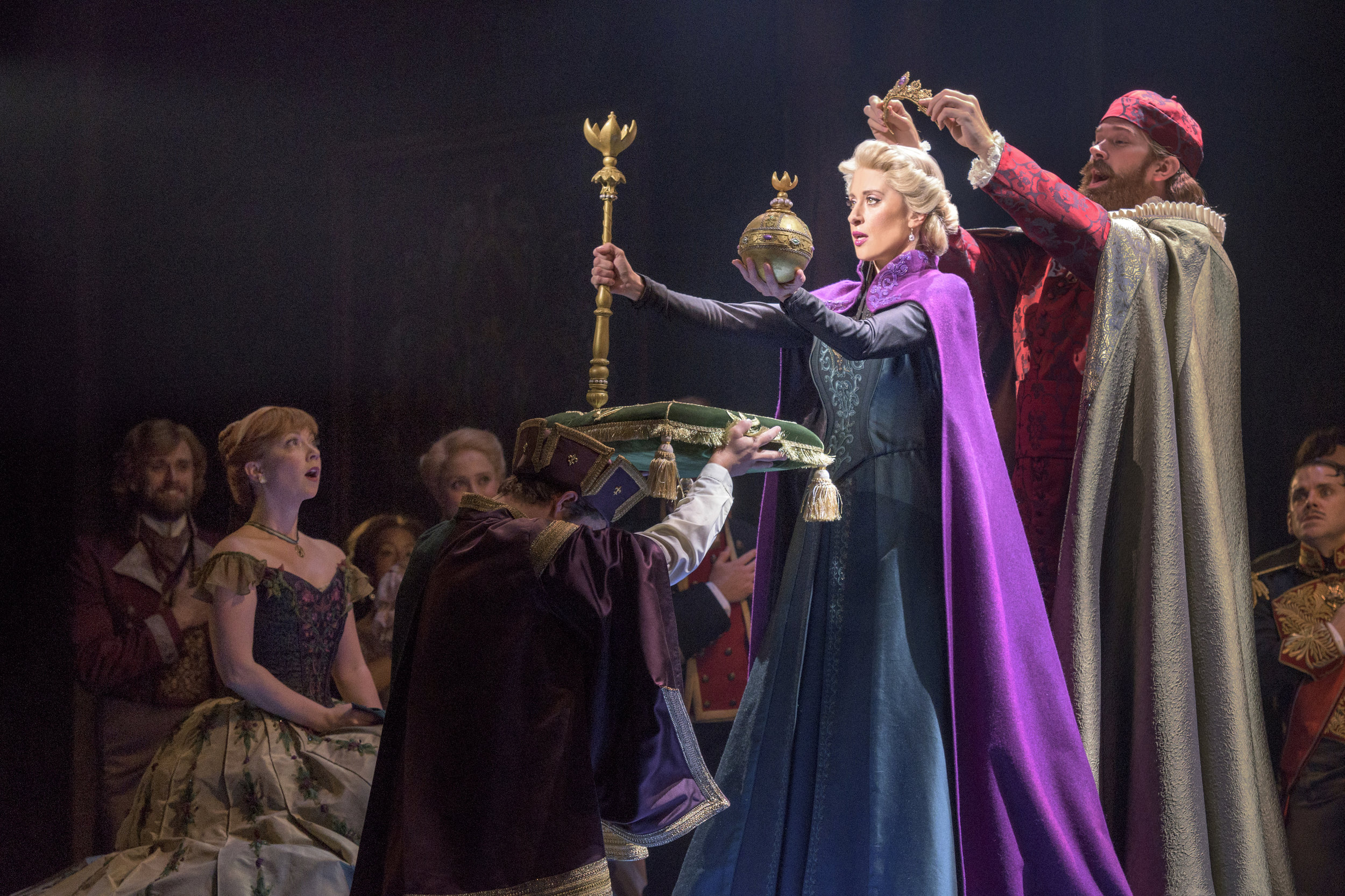 Patti Murin (Anna) and Caissie Levy (Elsa) with Jacob Smith in FROZEN on Broadway. Photo by Deen van Meer.jpg