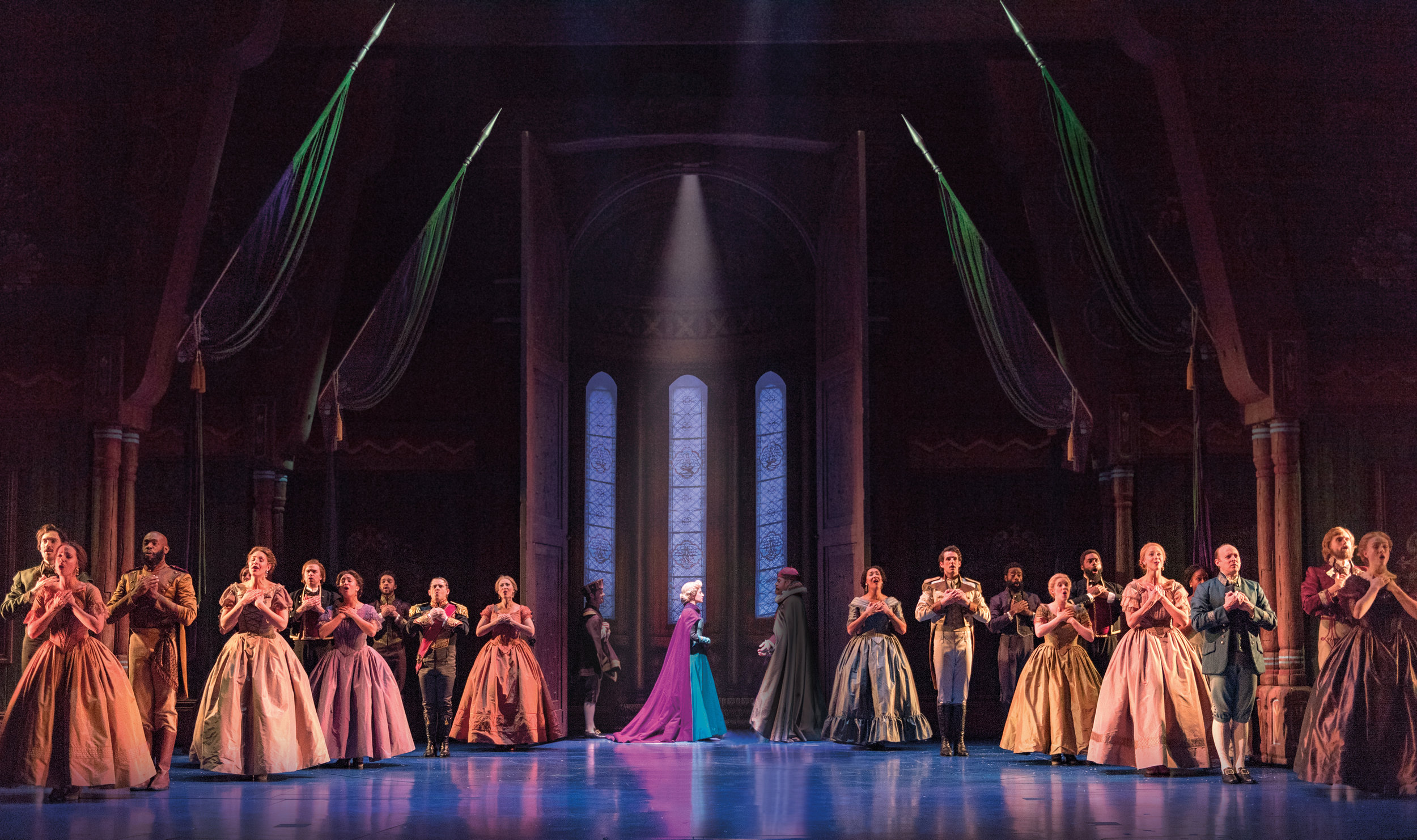 Caissie Levy (Elsa) and the Company of FROZEN on Broadway. Photo by Deen van Meer.jpg