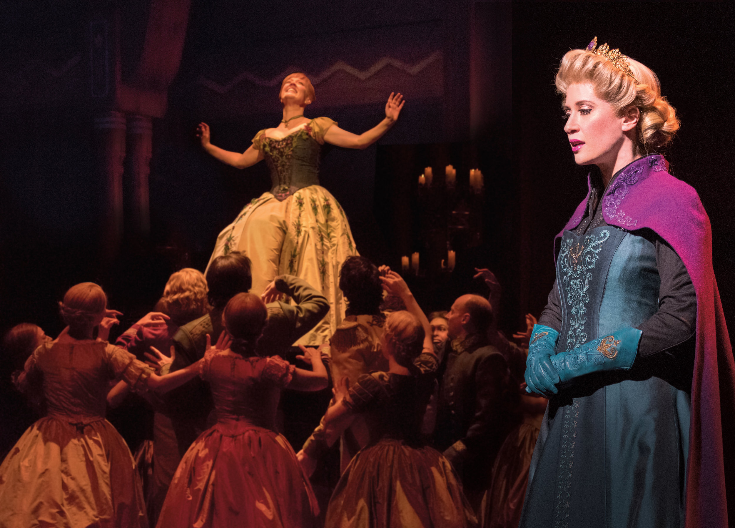 Patti Murin (Anna), Caissie Levy (Elsa) and the Company of FROZEN on Broadway - Lift. Photo by Deen van Meer.jpg