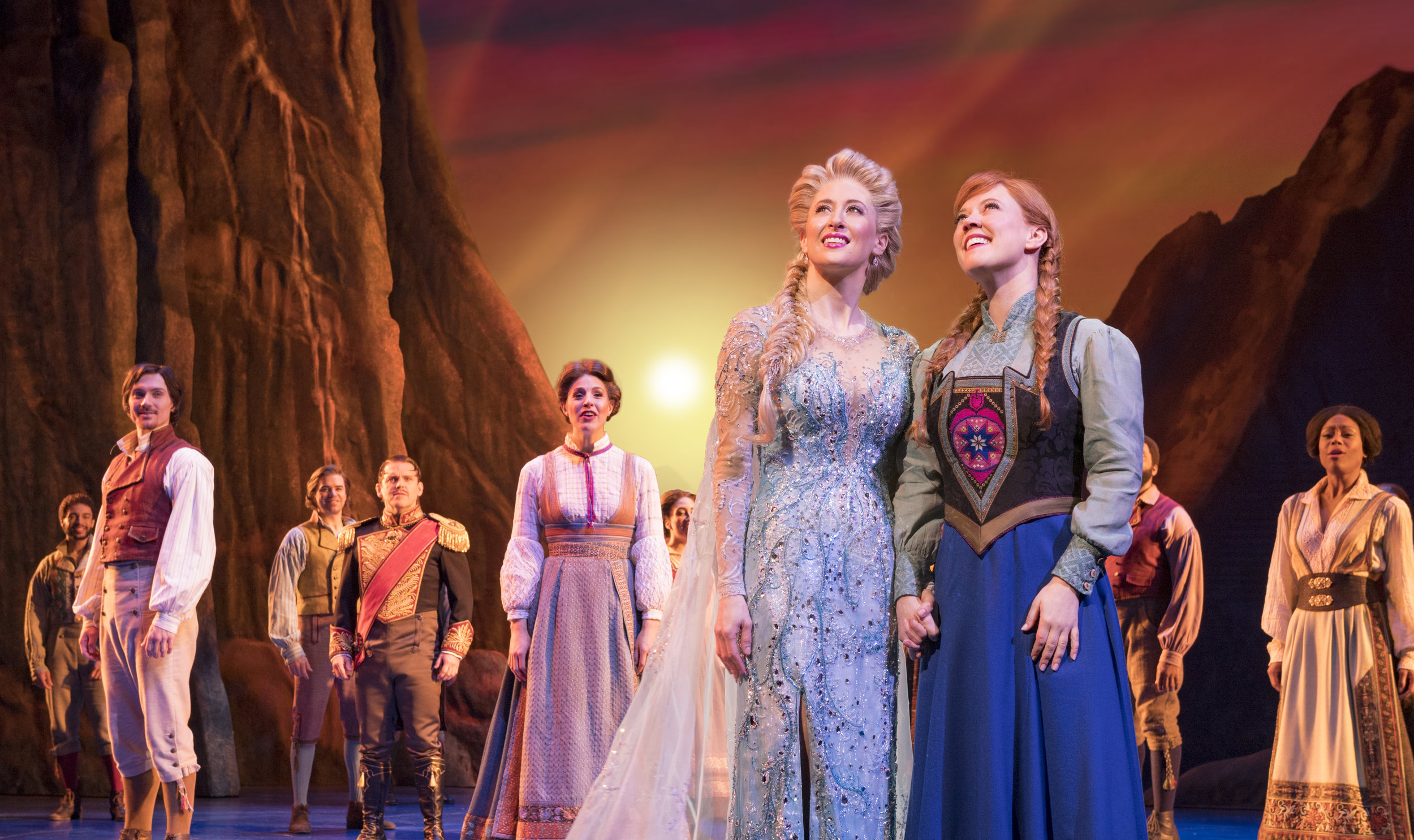 Caissie Levy (Elsa), Patti Murin (Anna) and the Company of FROZEN on Broadway. Photo by Deen van Meer.jpg