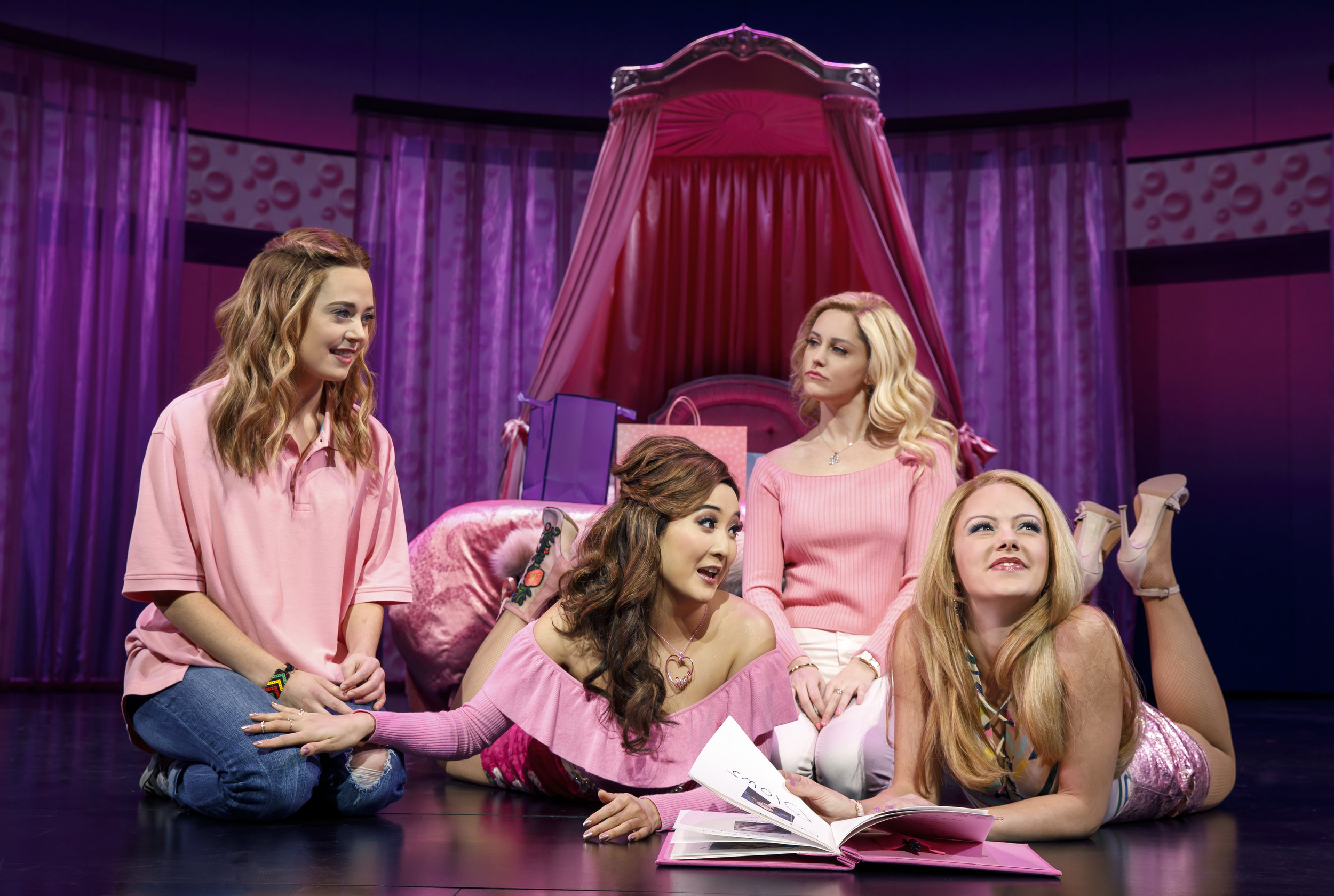 Ashley Park (brunette, center)  in  Mean Girls . Photo: Joan Marcus