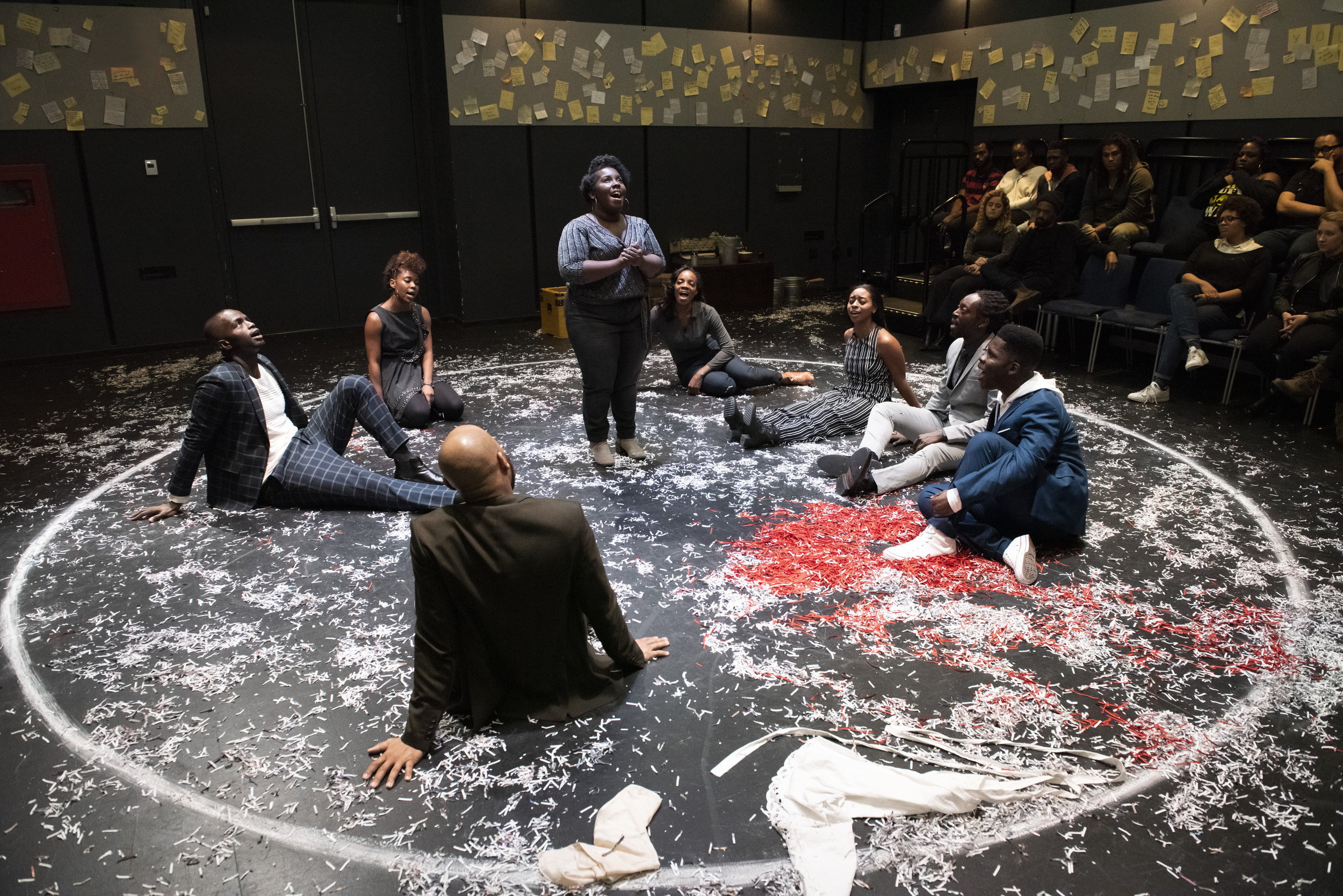 Denise Manning and the Cast of WHAT TO SEND UP WHEN IT GOES DOWN. Photo by Ahron R. Foster.jpg