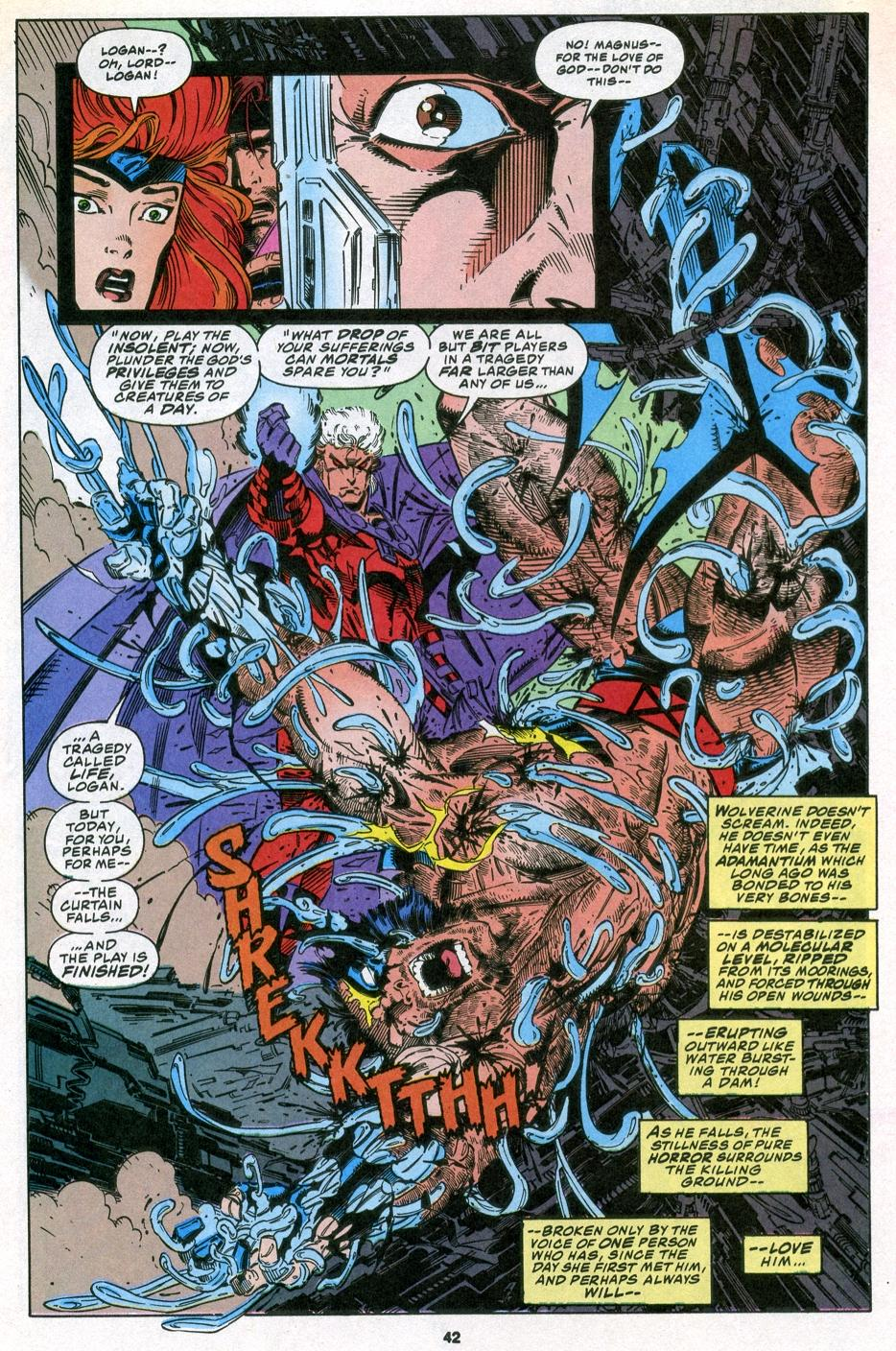 Page from X-Men #25, Vol 2, written by Fabien Nicieza and illustrated by Andy Kubert. In this picture my friend is like Magneto and I'm like Wolverine, minus the muscles and cool muttonchops.