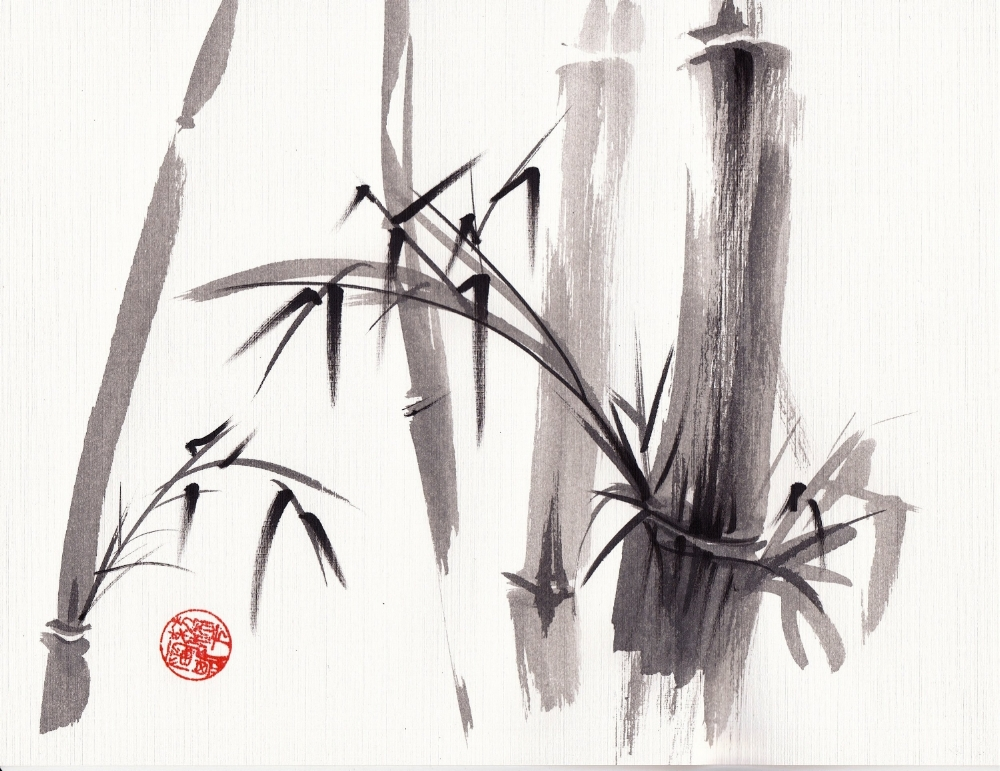 """""""After the Rain""""  Sumi-e ink wash painting  by Rebecca Rees"""