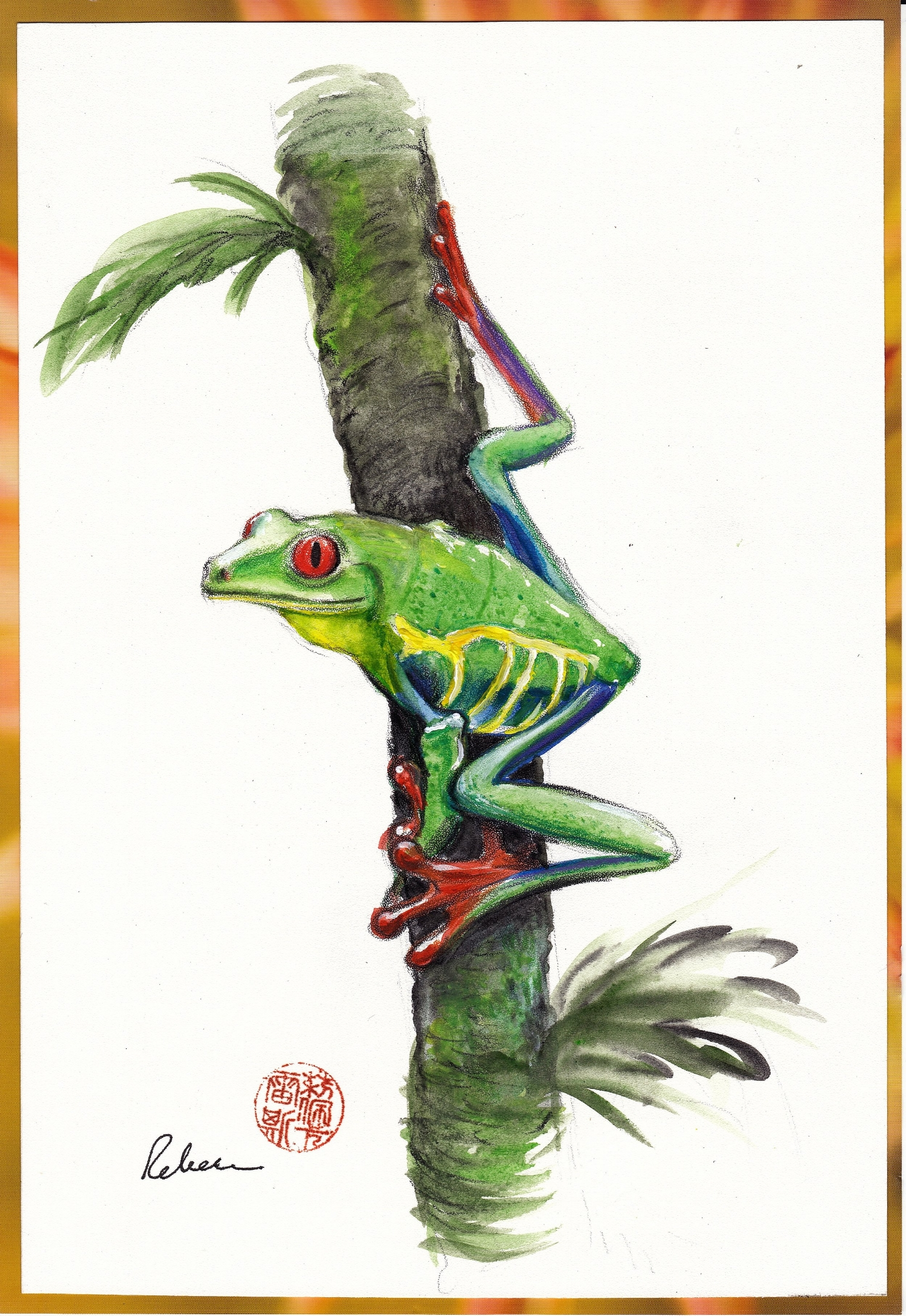 """""""Red-eyed Tree Frog""""  by Rebecca Rees"""