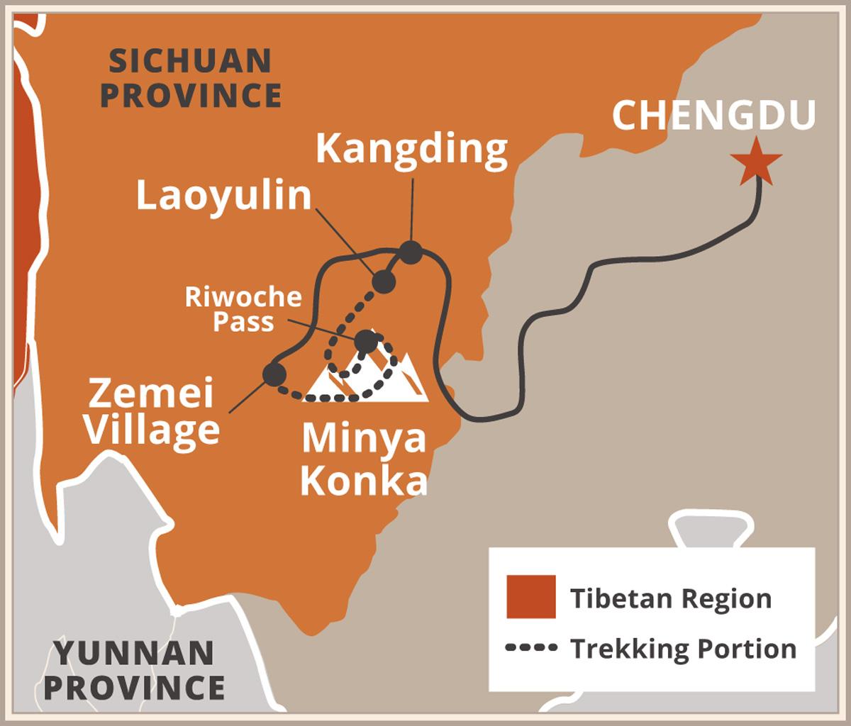 Minya Konka Trekking Map