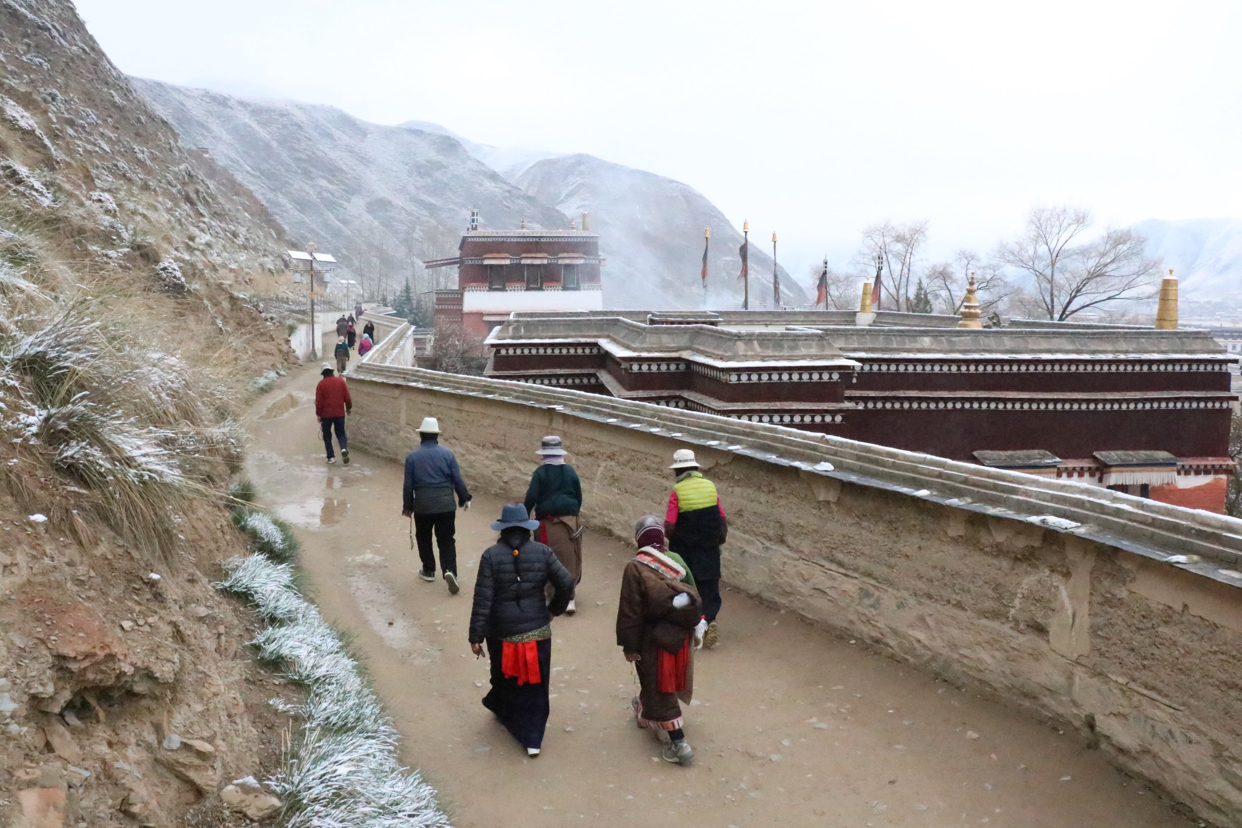 Walking kora in the snow at Labrang.